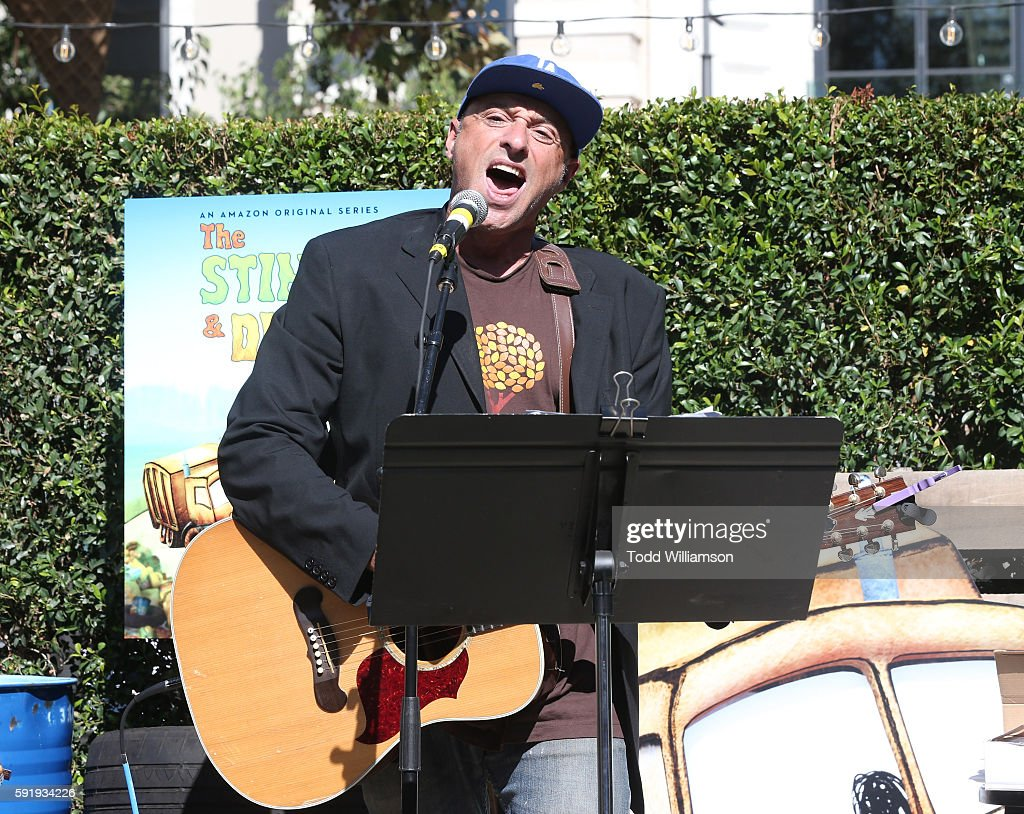 Singer/songwriter Dan Bern performs at the Premiere Screening And Party For Amazon Original Series 'The Stinky Dirty Show' at The Grove on August 18...