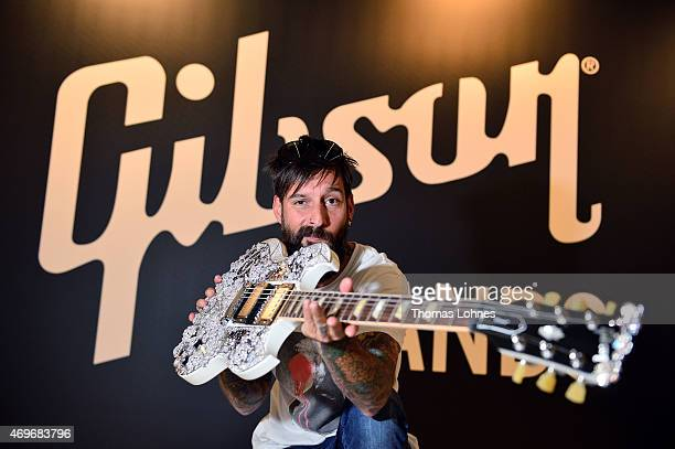 SingerSongwriter Daniel Wirtz presents the 'Eden of CORONET' guitar the highlight of this year's Gibson at Musikmesse Frankfurt event on April 14...