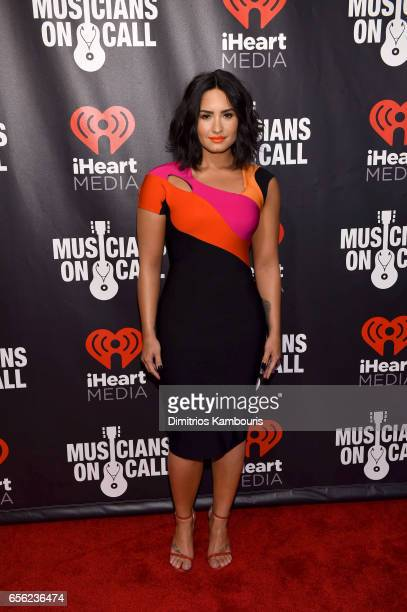 SingerSongwriter Demi Lovato attends A Night To Celebrate Elvis Duran presented by Musicians On Call at The Edison Ballroom on March 21 2017 in New...