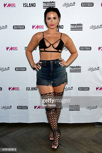 Singersongwriter Demi Lovato attends Demi Lovato's Debut of her New Single 'Cool for the Summer' with Z100 at Gansevoort Park Avenue on July 1 2015...