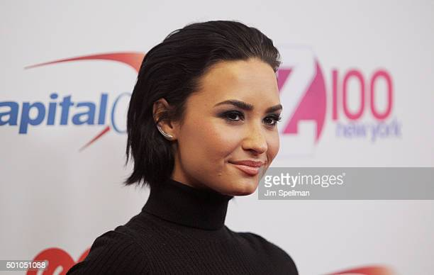 Singer/songwriter Demi Lovato attends the Z100's iHeartRadio Jingle Ball 2015 at Madison Square Garden on December 11 2015 in New York City