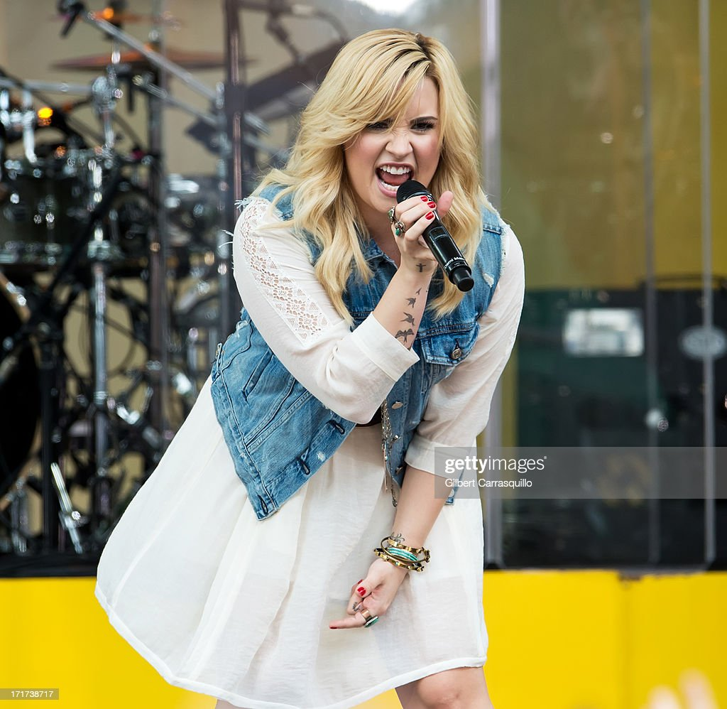Singer-songwriter Demi Lovato performs during ABC's 'Good Morning America' at Rumsey Playfield on June 28, 2013 in New York City.