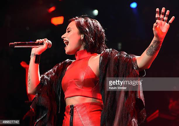 Singer/songwriter Demi Lovato performs onstage during 1061 KISS FM's Jingle Ball 2015 presented by Capital One at American Airlines Center on...