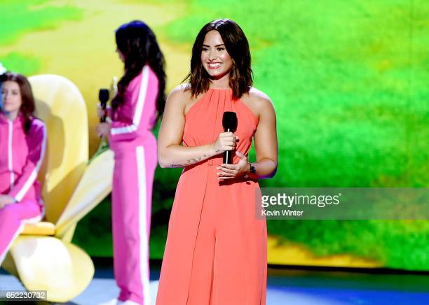 Singersongwriter Demi Lovato speaks onstage at Nickelodeon's 2017 Kids' Choice Awards at USC Galen Center on March 11 2017 in Los Angeles California