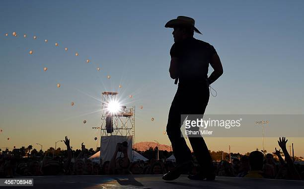 Singer/songwriter Dustin Lynch performs during the Route 91 Harvest country music festival at the MGM Resorts Village on October 5 2014 in Las Vegas...
