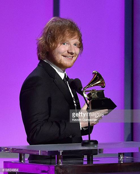 Singersongwriter Ed Sheeran accepts the Grammy Award for Best Pop Solo Performance for 'Thinking Out Loud' onstage during the GRAMMY PreTelecast at...