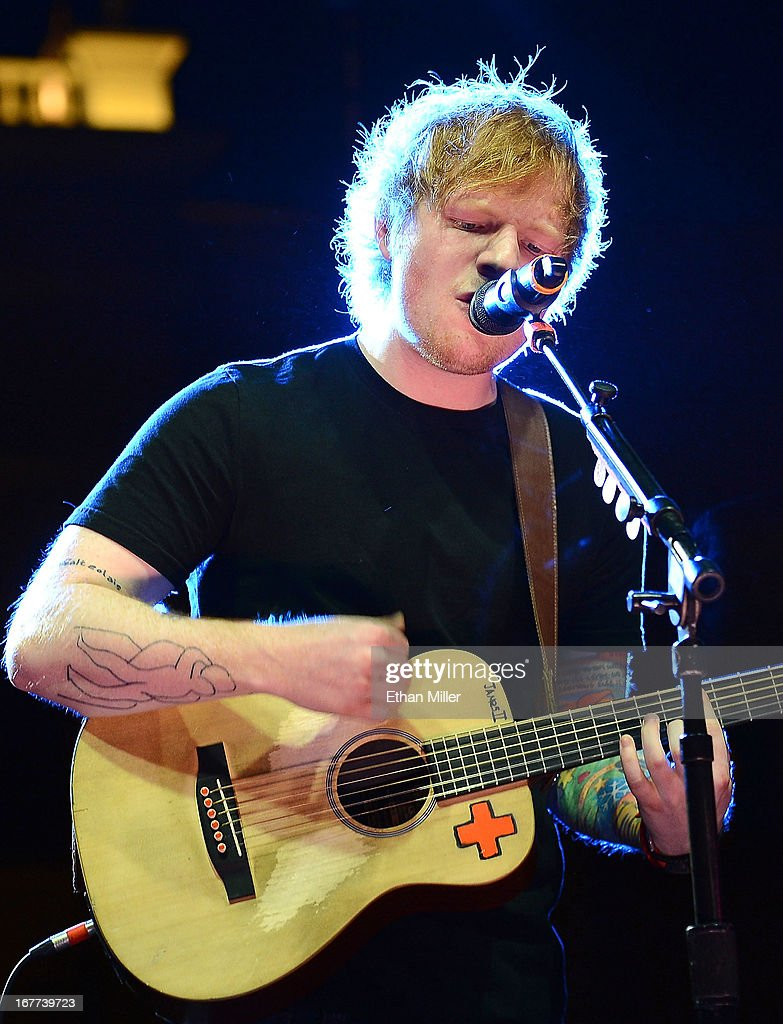 Singer/songwriter Ed Sheeran performs during the grand opening celebration of the world's first Nobu Hotel Restaurant and Lounge Caesars Palace on April 28, 2013 in Las Vegas, Nevada.
