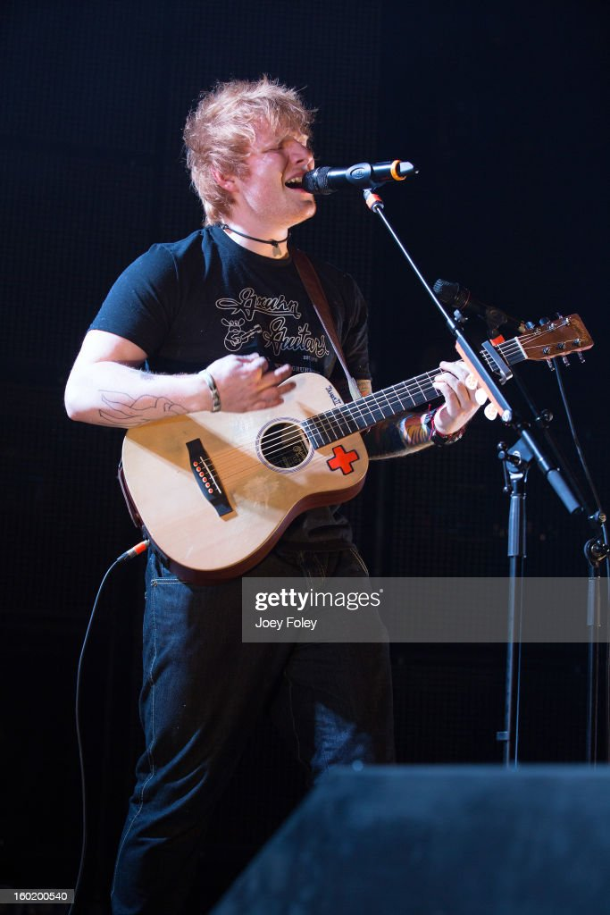 Singer-songwriter <a gi-track='captionPersonalityLinkClicked' href=/galleries/search?phrase=Ed+Sheeran&family=editorial&specificpeople=7604356 ng-click='$event.stopPropagation()'>Ed Sheeran</a> performs in concert at the Murat Egyptian Room on January 26, 2013 in Indianapolis, Indiana.