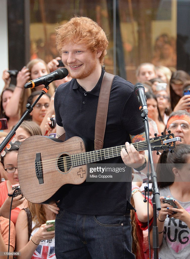 Singer/songwriter <a gi-track='captionPersonalityLinkClicked' href=/galleries/search?phrase=Ed+Sheeran&family=editorial&specificpeople=7604356 ng-click='$event.stopPropagation()'>Ed Sheeran</a> performs on NBC's 'Today' at the NBC's TODAY Show on July 12, 2013 in New York, New York.