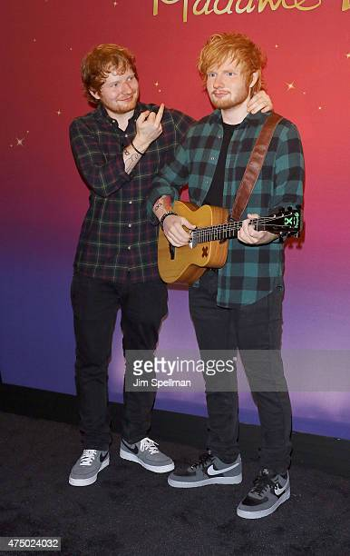 Singer/songwriter Ed Sheeran unveils new wax figure at Madame Tussauds on May 28 2015 in New York City