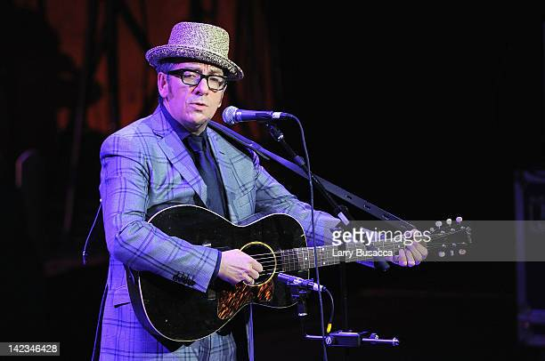 Singer/songwriter Elvis Costello performs during a Celebration of Paul Newman's Dream to Benefit the SeriousFun Children's Network at Avery Fisher...