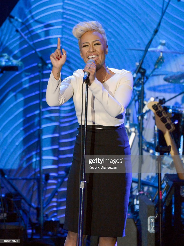 Singer/songwriter Emeli Sande performs onstage at Clive Davis & The Recording Academy's 2013 Pre-GRAMMY Gala and Salute to Industry Icons honoring Antonio 'L.A.' Reid at The Beverly Hilton Hotel on February 9, 2013 in Beverly Hills, California.