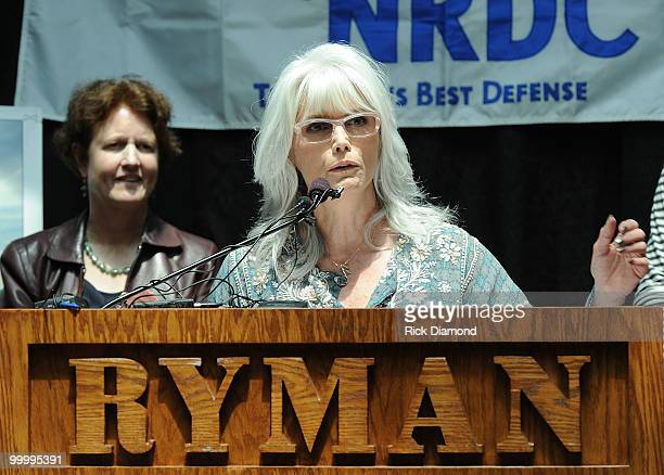 Singer/Songwriter Emmylou Harris addresses the press during the' Music Saves Mountains' benefit concert press conference at the Ryman Auditorium on...