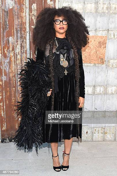 Singersongwriter Erykah Badu attends the Givenchy fashion show during Spring 2016 New York Fashion Week at Pier 26 at Hudson River Park on September...