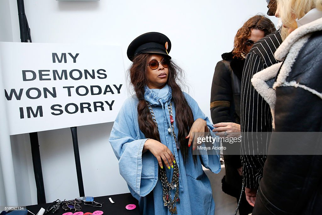 Singer-songwriter <a gi-track='captionPersonalityLinkClicked' href=/galleries/search?phrase=Erykah+Badu&family=editorial&specificpeople=224744 ng-click='$event.stopPropagation()'>Erykah Badu</a> prepares backstage at the Pyer Moss Fall 2016 fashion show during MADE Fashion Week at Milk Studios on February 13, 2016 in New York City.