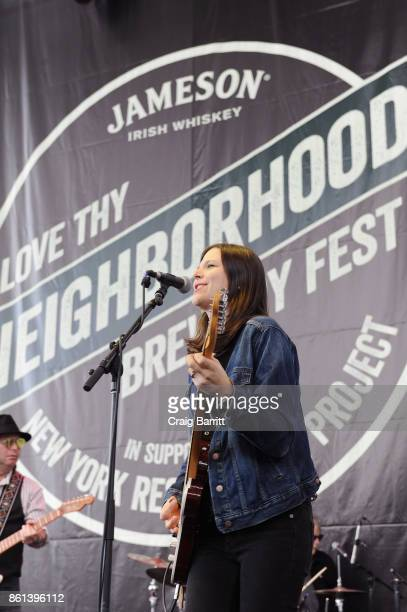 Singersongwriter Eve Monsees of Eve And The Exiles performs onstage during Jameson's Love Thy Neighborhood Brewery Fest in support of New York...