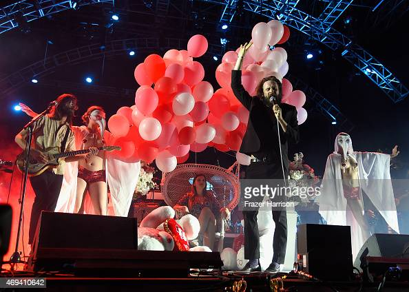 Singersongwriter Father John Misty performs onstage during day 2 of the 2015 Coachella Valley Music Arts Festival at the Empire Polo Club on April 11...