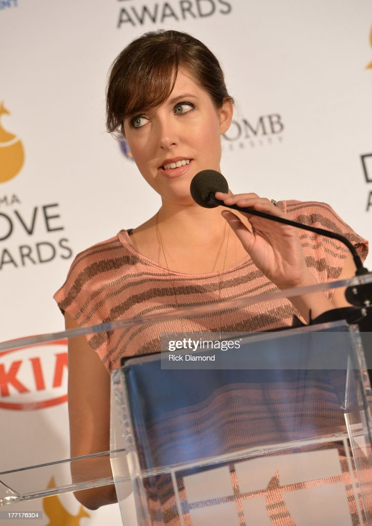 Singer/Songwriter <a gi-track='captionPersonalityLinkClicked' href=/galleries/search?phrase=Francesca+Battistelli&family=editorial&specificpeople=6700922 ng-click='$event.stopPropagation()'>Francesca Battistelli</a> announces nominations for The 44th Annual GMA Dove Awards Nominations Press Conference at Allen Arena, Lipscomb University on August 21, 2013 in Nashville, Tennessee.