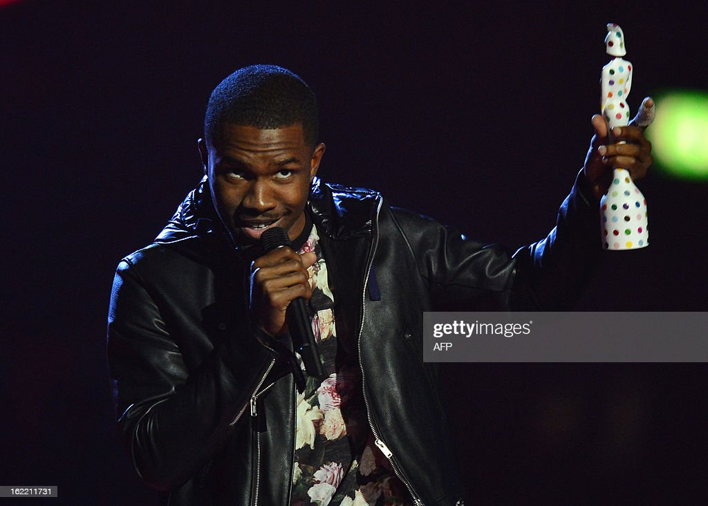 US singer-songwriter Frank Ocean accepts the International Male Solo Artist award during the BRIT Awards 2013 ceremony in London on February 20, 2013. AFP PHOTO / BEN STANSALL