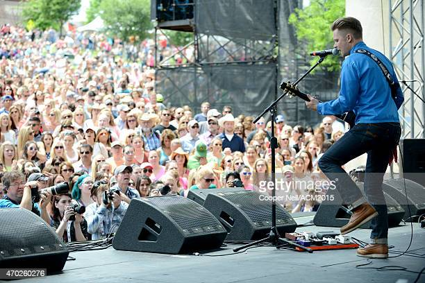 Singersongwriter Frankie Ballard performs onstage during the ACM Party For A Cause Festival at Globe Life Park in Arlington on April 18 2015 in...