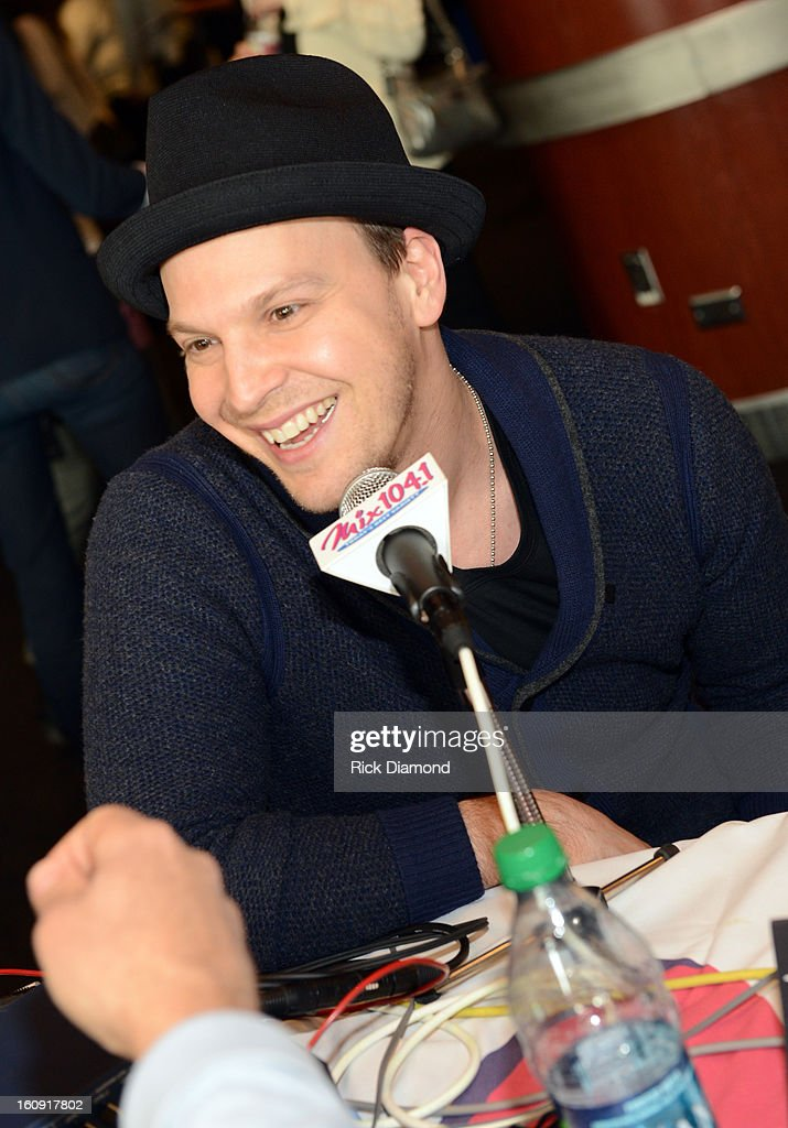 Singer/songwriter Gavin DeGraw is interviewed backstage at the GRAMMYs Dial Global Radio Remotes during The 55th Annual GRAMMY Awards at the STAPLES Center on February 7, 2013 in Los Angeles, California.