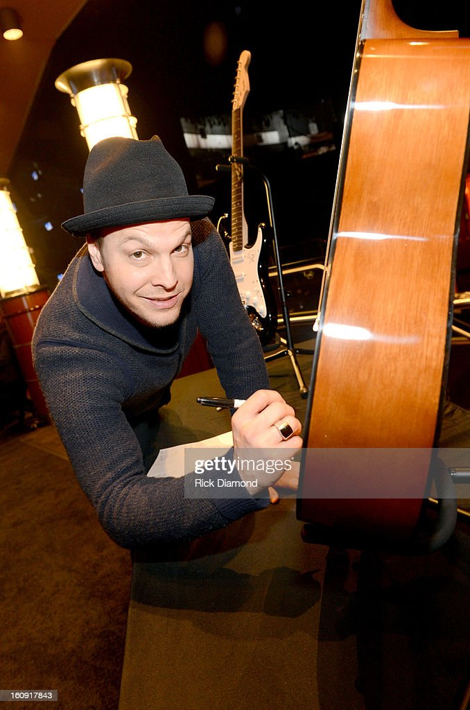 Singer/songwriter Gavin DeGraw poses backstage at the GRAMMYs Dial Global Radio Remotes during The 55th Annual GRAMMY Awards at the STAPLES Center on February 7, 2013 in Los Angeles, California.