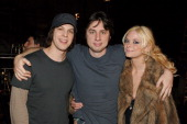 Singer/Songwriter Gavin DeGraw with video director Zach Braff and Jaime King on the set of the video for Chariot the title track from DeGraw's...