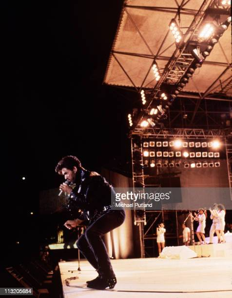 Singersongwriter George Michael of Wham performing at the pop duo's farewell concert entitled 'The Final' at Wembley Stadium London 28th June 1986