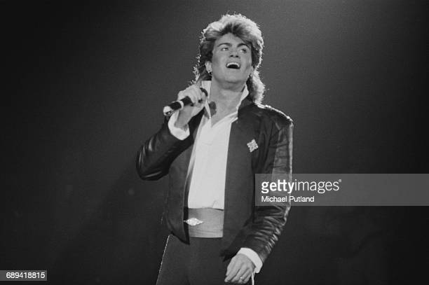 Singersongwriter George Michael of Wham performing on stage during the pop duo's 1985 world tour January 1985'The Big Tour' took in the UK Japan...