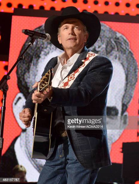 Singer/songwriter George Strait performs onstage during the 49th Annual Academy of Country Music Awards at the MGM Grand Garden Arena on April 6 2014...