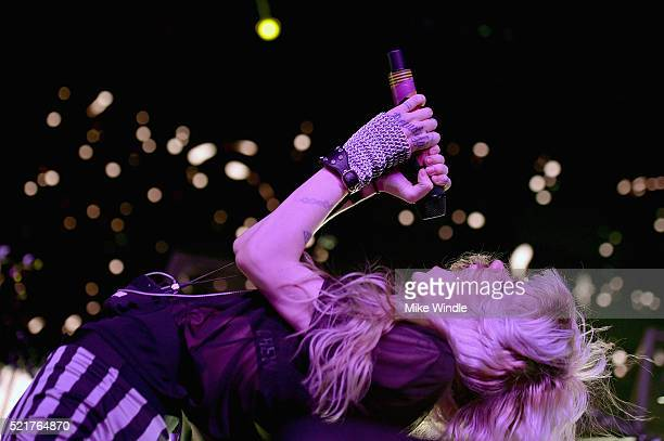 Singersongwriter Grimes performs onstage during day 2 of the 2016 Coachella Valley Music Arts Festival Weekend 1 at the Empire Polo Club on April 16...