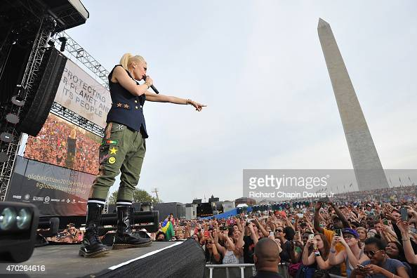 Singersongwriter Gwen Stefani of No Doubt performs onstage during Global Citizen 2015 Earth Day on National Mall to end extreme poverty and solve...
