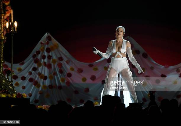 Singer/songwriter Halsey performs during the 2017 Billboard Music Awards at TMobile Arena on May 21 2017 in Las Vegas Nevada