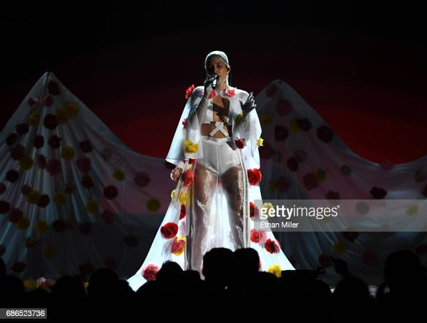 Singer/songwriter Halsey performs onstage during the 2017 Billboard Music Awards at TMobile Arena on May 21 2017 in Las Vegas Nevada