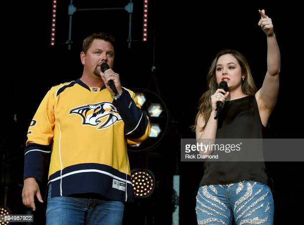 Singersongwriter Hayley Orrantia and actress Hayley Orrantia speakonstage during day 4 of the 2017 CMA Music Festival on June 11 2017 in Nashville...