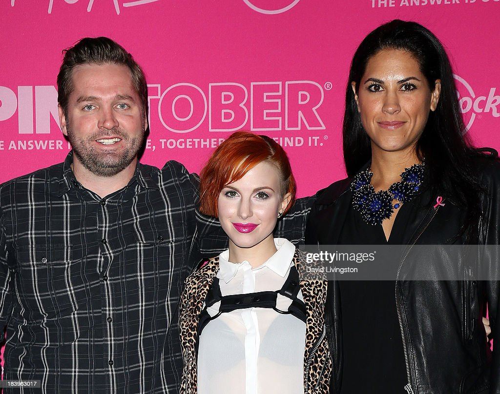 Singer/songwriter <a gi-track='captionPersonalityLinkClicked' href=/galleries/search?phrase=Hayley+Williams&family=editorial&specificpeople=4383581 ng-click='$event.stopPropagation()'>Hayley Williams</a> of Paramore (C) poses with Hard Rock Director of Music Relations James Buell (L) and The Breast Cancer Research Foundation Chief Communications & Engagement Officer Sabrina Dupre at the Hard Rock launch of it's PINKTOBER program at the Hard Rock Cafe on October 10, 2013 in Hollywood, California.