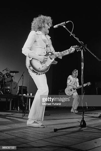 Singersongwriter Ian Hunter and guitarist Mick Ronson performing with The Hunter Ronson Band at the Colston Hall in Bristol 1st April 1975