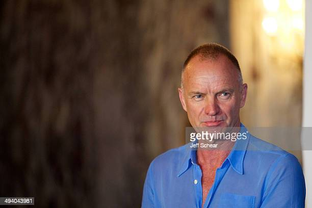 Singer/Songwriter Instrumentalist and Composer of 'The Last Ship' Sting attends the 'The Last Ship' PreBroadway news conference at Cadillac Palace...