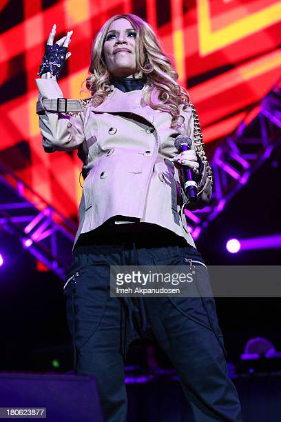 Singer/songwriter Ivy Queen performs onstage during Calibash 2013 at Staples Center on September 14 2013 in Los Angeles California