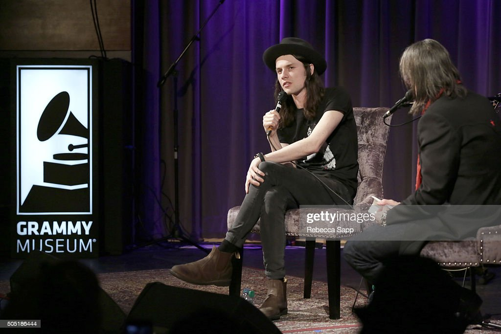 Singer/songwriter James Bay speaks with Vice President of the GRAMMY Foundation Scott Goldman at Spotlight: James Bay at The GRAMMY Museum on January 15, 2016 in Los Angeles, California.
