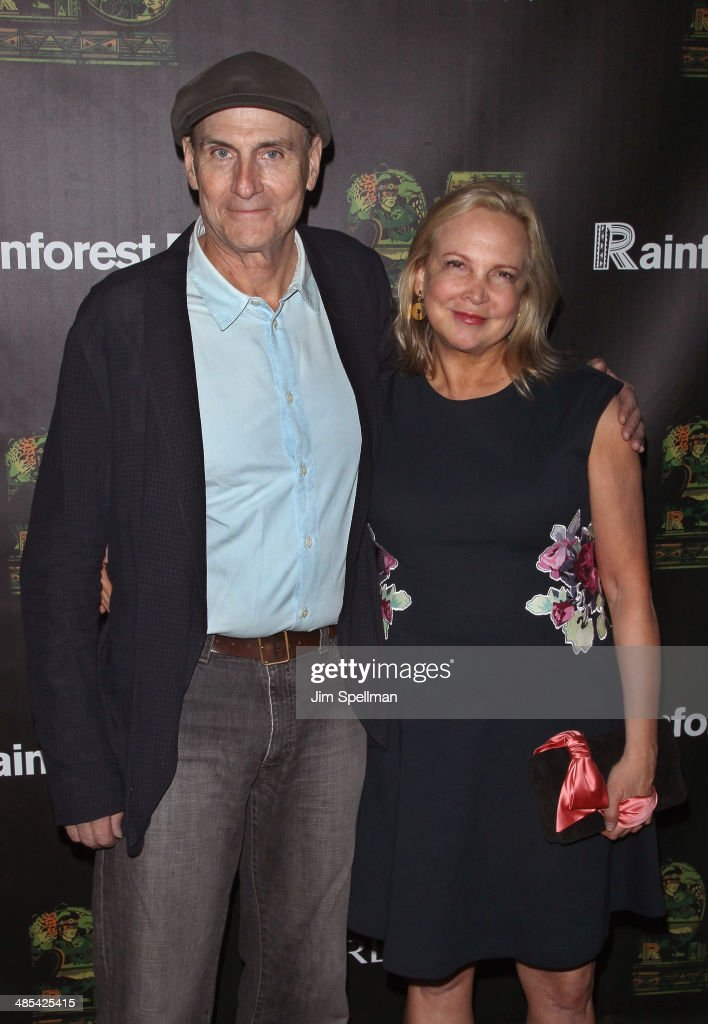 Singer/songwriter James Taylor and wife Caroline Smedvig attend the 25th Anniversary Rainforest Fund Benefit at Mandarin Oriental Hotel on April 17, 2014 in New York City.