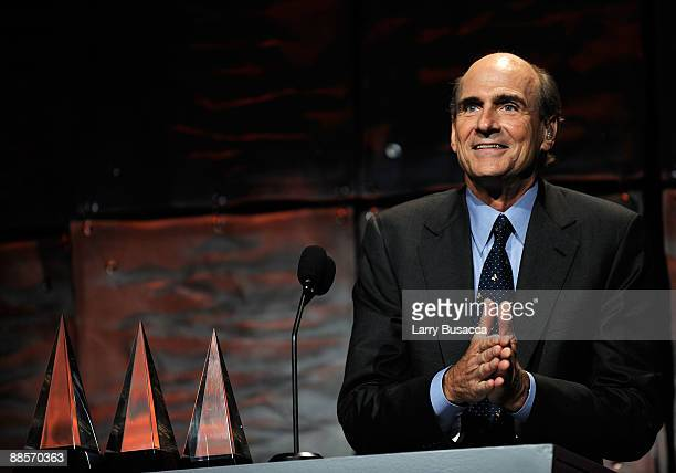 Singer/songwriter James Taylor on stage during the 40th Annual Songwriters Hall of Fame Ceremony at The New York Marriott Marquis on June 18 2009 in...