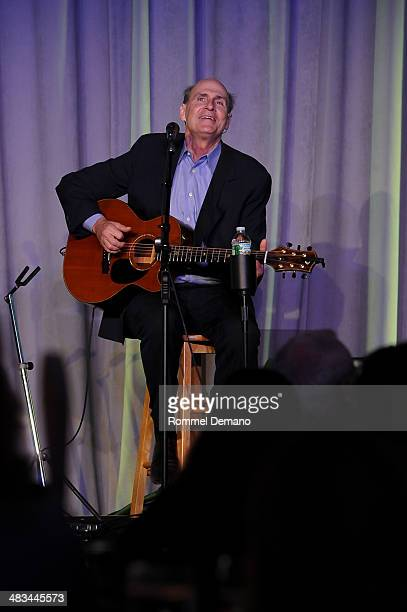 SingerSongwriter James Taylor performs at the 2014 UJAFederation of New York's Leadership Awards Dinner at Pier Sixty at Chelsea Piers on April 8...