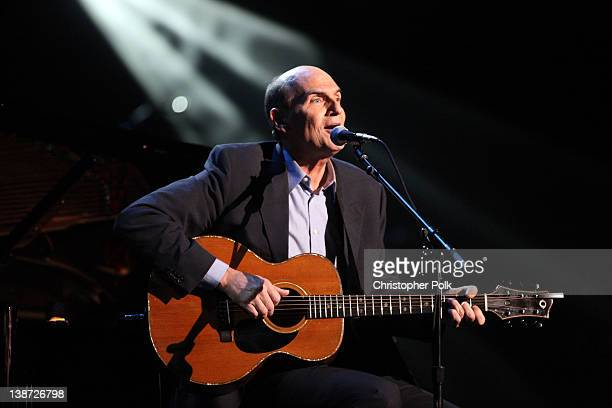 Singer/Songwriter James Taylor performs onstage during The 2012 MusiCares Person Of The Year Gala Honoring Paul McCartney at Los Angeles Convention...