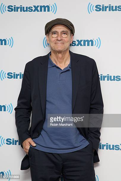 Singersongwriter James Taylor poses for photos during SiriusXM's 'Town Hall' with James Taylor hosted by Bob Costas at SiriusXM Studio on June 19...