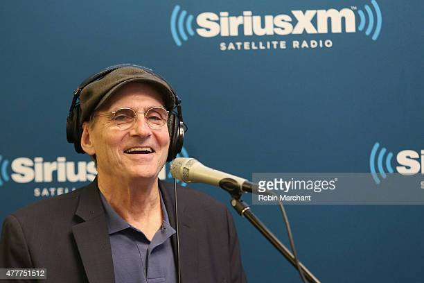 Singersongwriter James Taylor speaks during SiriusXM's 'Town Hall' with James Taylor hosted by Bob Costas at SiriusXM Studio on June 19 2015 in New...