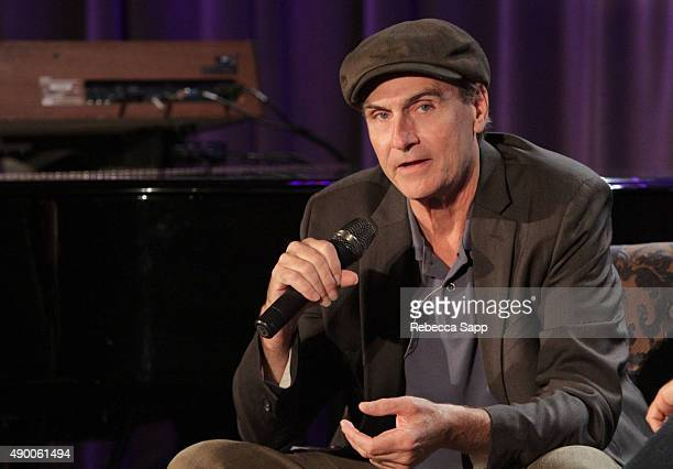Singer/songwriter James Taylor speaks onstage at An Evening With James Taylor at the GRAMMY Museum on September 25 2015 in Los Angeles California
