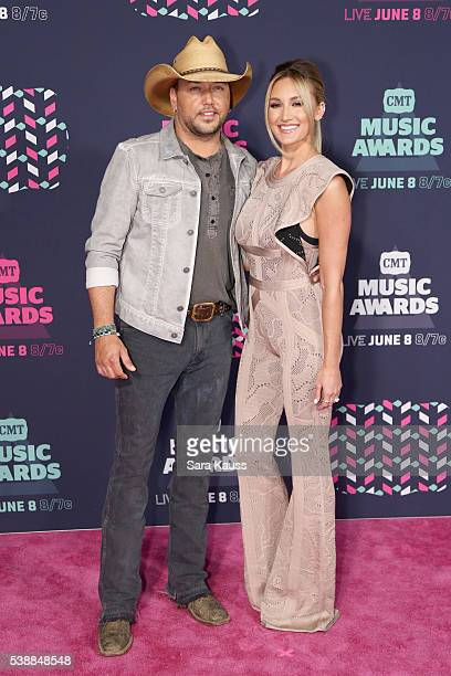 Singersongwriter Jason Aldean and Brittany Kerr attend the 2016 CMT Music awards at the Bridgestone Arena on June 8 2016 in Nashville Tennessee