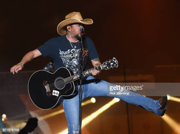 Singer/Songwriter Jason Aldean performs during Country Thunder Day 4 on July 23 2017 in Twin Lakes Wisconsin