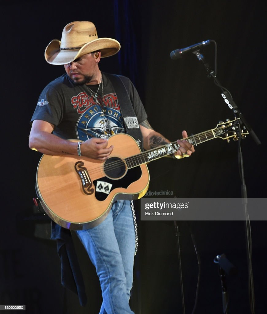 Singer/Songwriter Jason Aldean performs during Jason Aldean's 2nd Annual Concert For The Kids, Benefiting Children's Hospital Navicent Health of Bibb County, Raising over 700 thousand dollars at Macon Centreplex on August 11, 2017 in Macon, Georgia.